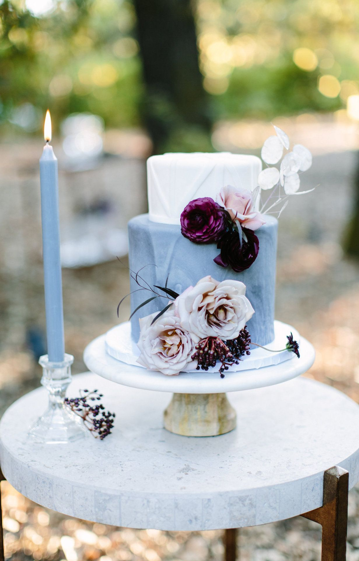 Wedding cake inspiration deep burgundy and blush floral details on