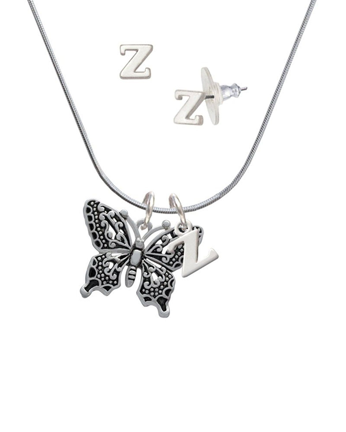 1d5065844ee8 Silvertone Large Fancy Butterfly - Z Initial Charm Necklace and Stud  Earrings Jewelry Set     For more information