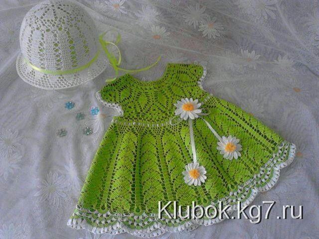 Tejido a mano en crochet. | Vestidos de niña a Crochet. | Pinterest ...