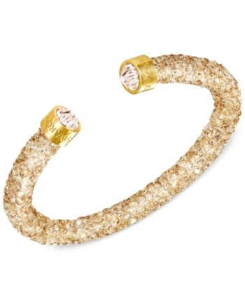 7cfae9b683f Swarovski Silver-Tone Black Crystal and Crystaldust Open Cuff Bracelet -  Gold