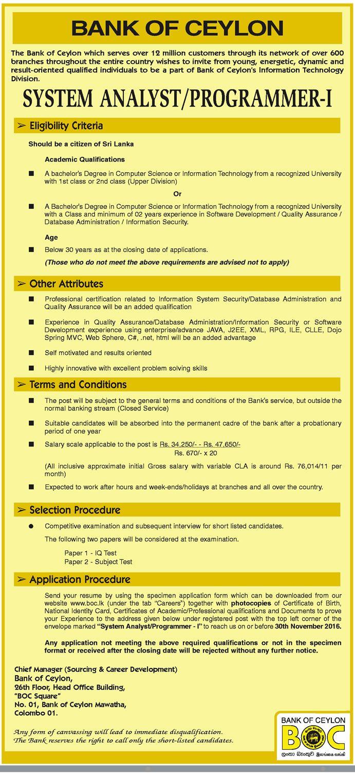 Sri Lankan Government Job Vacancies at Bank of Ceylon