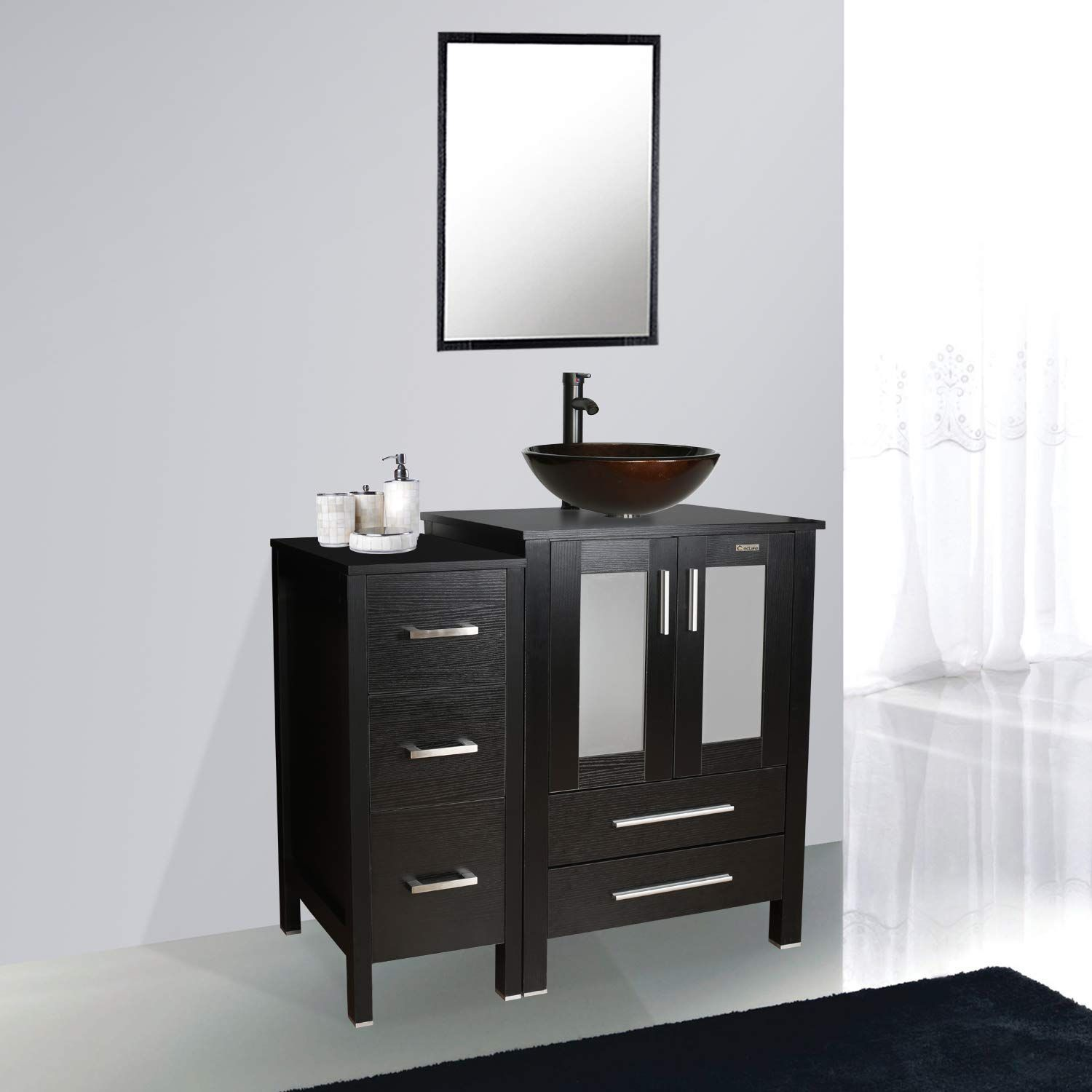 Eclife 36 Bathroom Vanity Sink Combo W Black Small Side Cabinet