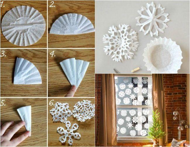 Weihnachtsdeko Selber Basteln Kaffeefilter Schneeflocken