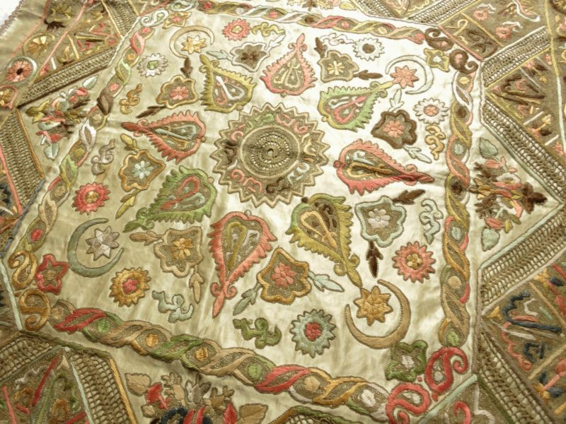 19thC Antique OTTOMAN BOCHE Turkish SILK METALLIC EMBROIDERY Panel Tablecloth