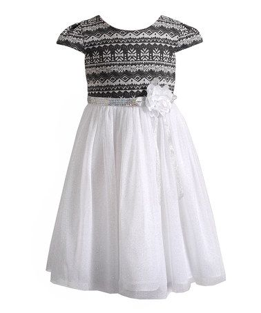 This Gray & White Fair Isle Sequin Dress - Toddler & Girls by ...