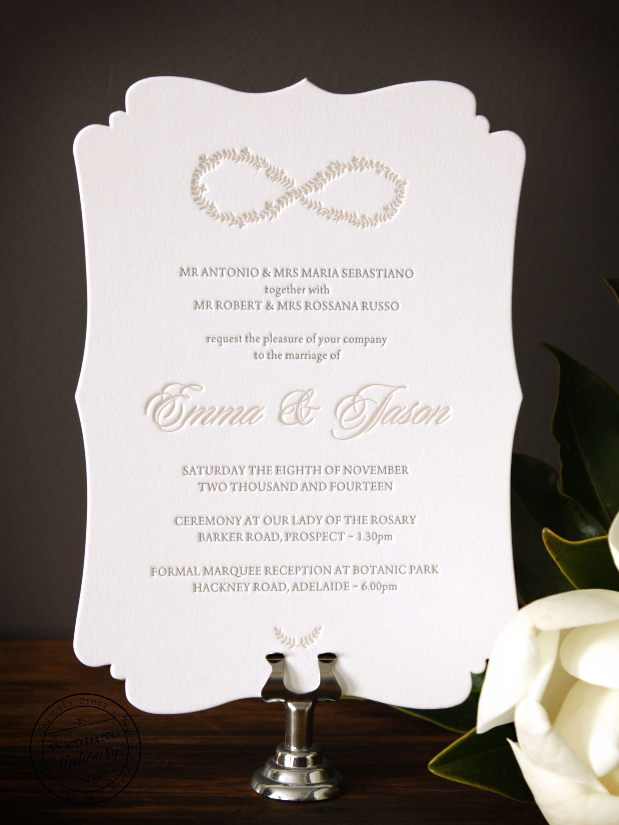Die cut letterpress invitation on Gmund cotton stock | Letterpress ...