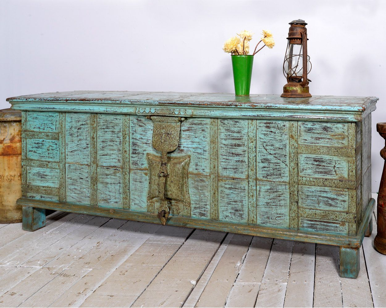 Sale reclaimed antique indian bright turquoise blue industrial sale reclaimed antique indian bright turquoise blue industrial farm chic pitara trunk coffee table storage bench geotapseo Choice Image