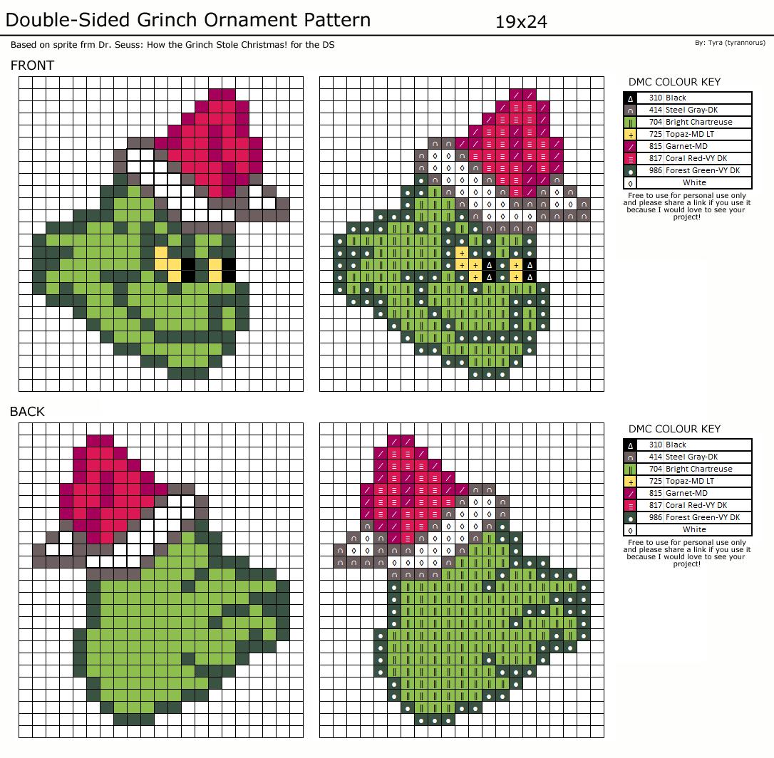Grinch Ornament Cross Stitch Pattern