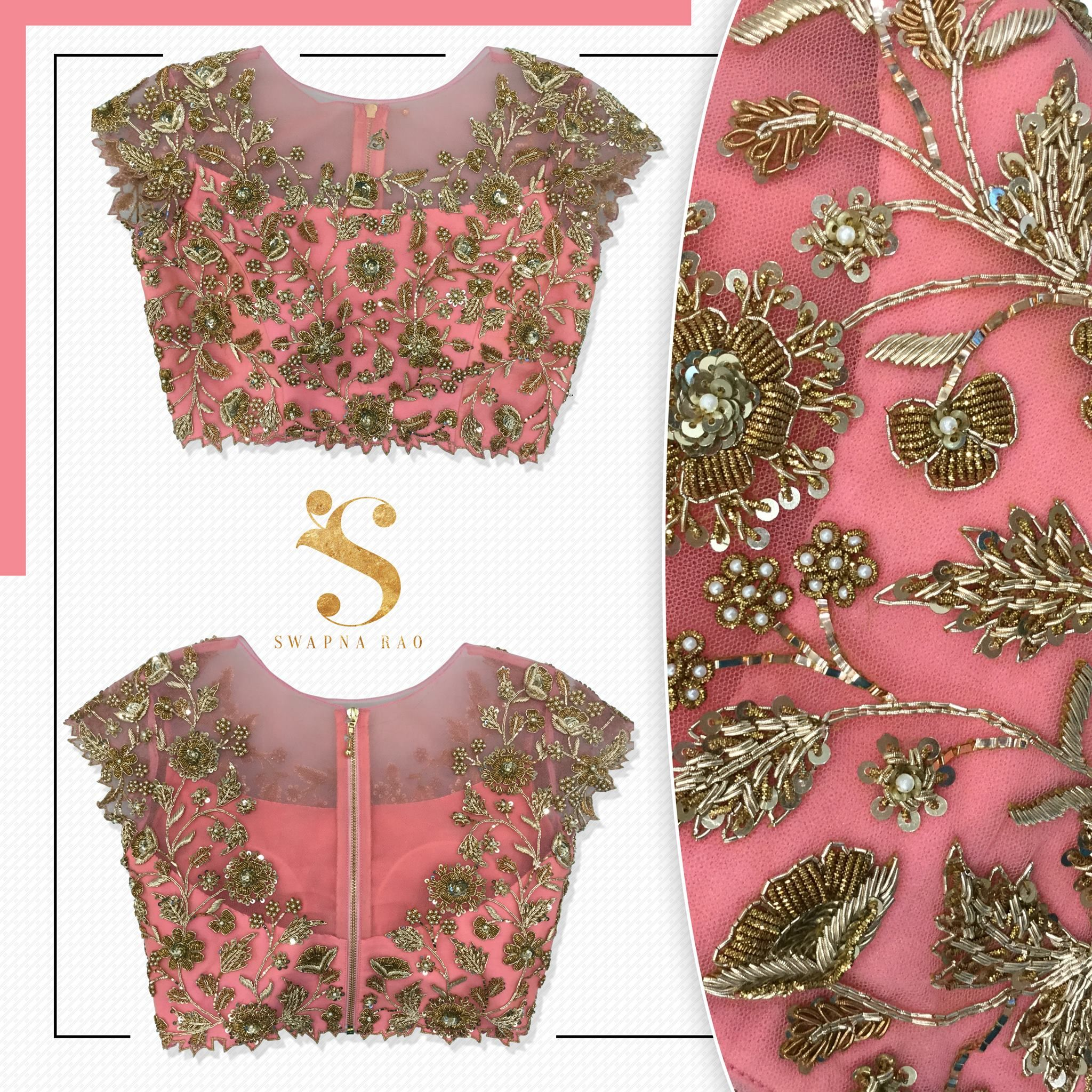 Pink blouse with intricate zardosi work to make you glitter in all ...