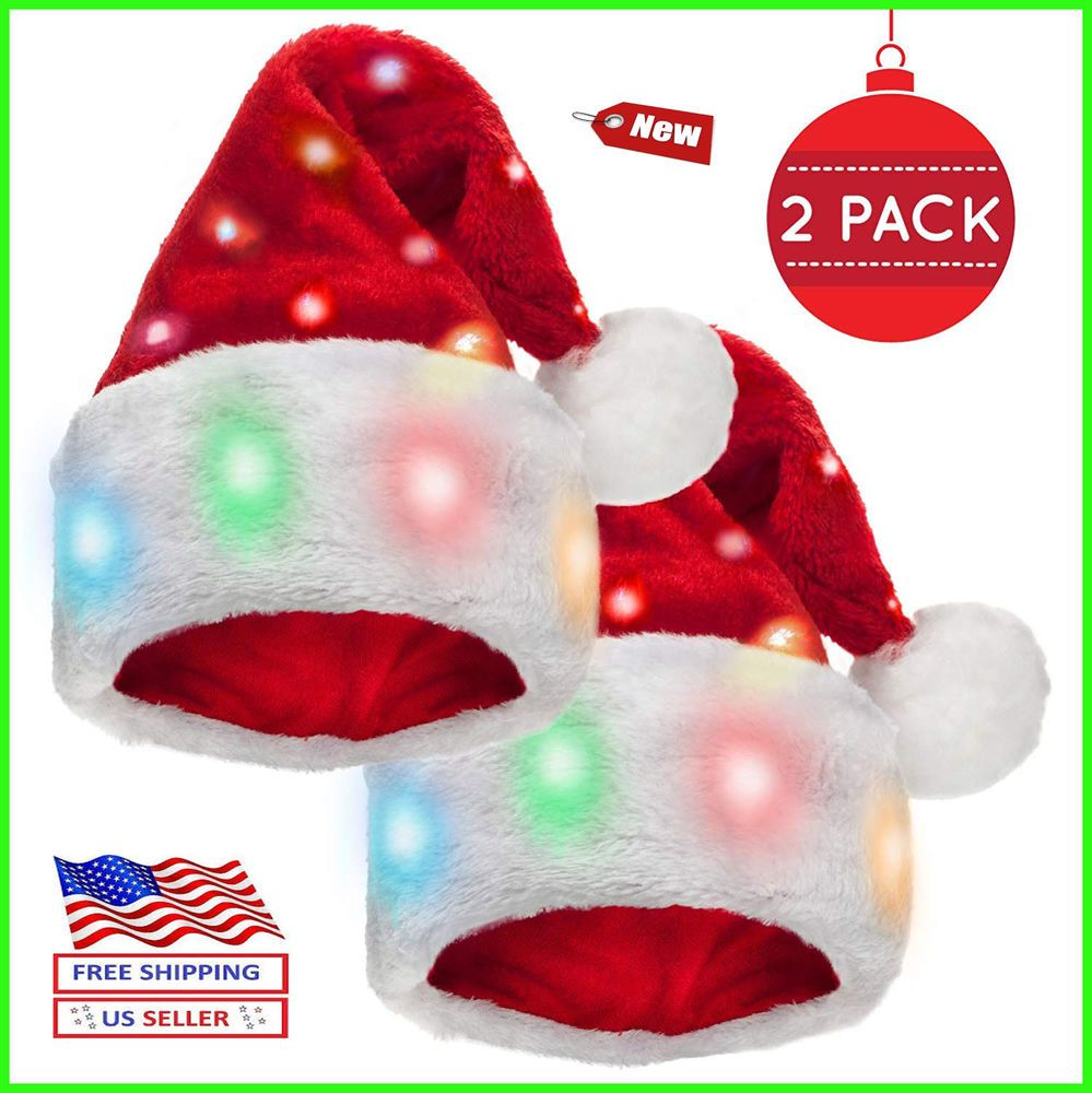 662dd90b88b52 Santa Hat christmas Winks Novelty Funny with 20 Blinking Color-Changing  Light up  fashion  clothing  shoes  accessories  costumesreenactmenttheater  ...
