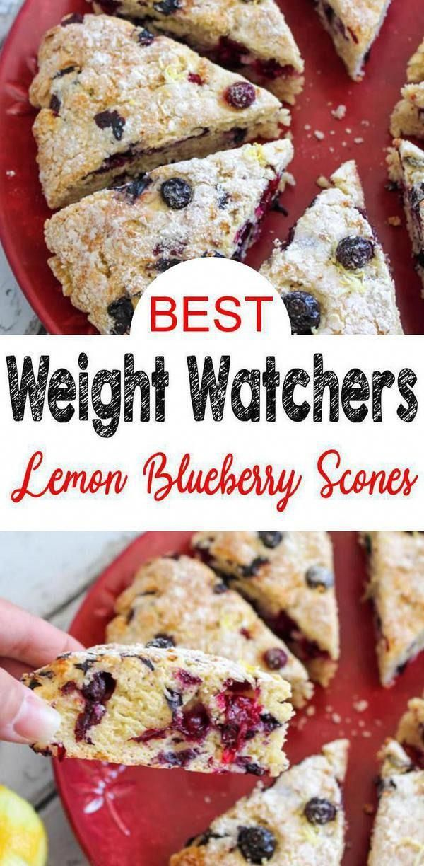 Weight Watchers Lemon Blueberry Scones – BEST WW Recipe – Breakfast – Treat – Snack with Smart Points. Healthy Weight Watchers breakfast recipe. EASY WW recipes for yummy scones.