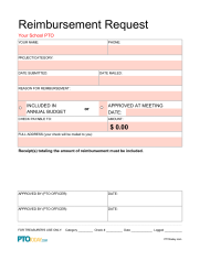 Reimbursement Request Form Excel  Pto Organization