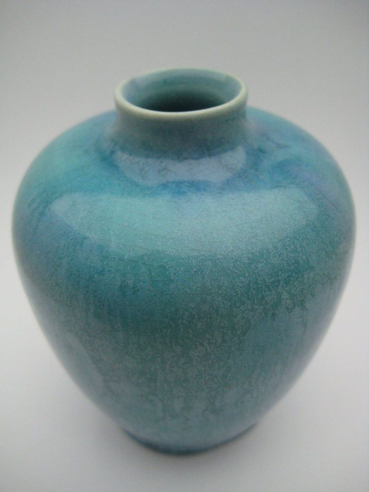 PILKINGTON Vase Lancastrian 1908 mottled glaze blue enamel ceramic glaze UK pott