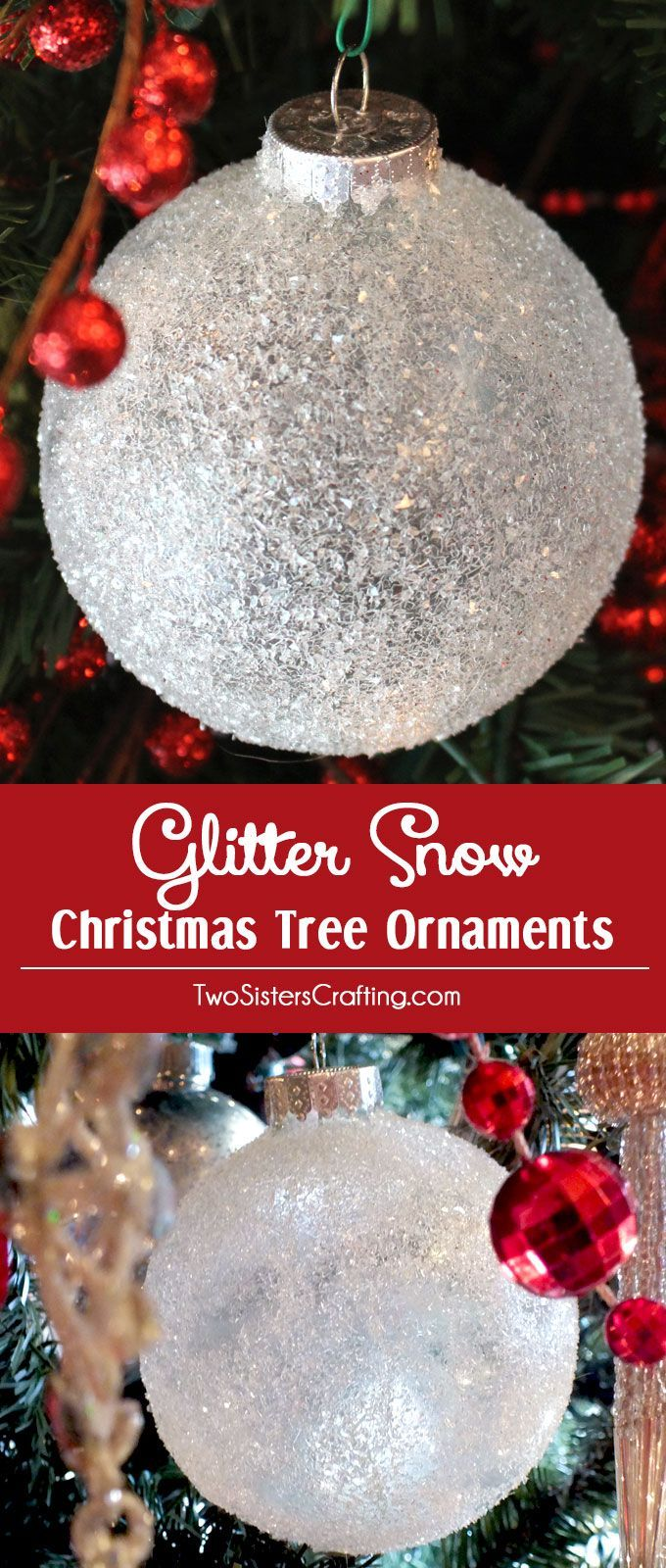 snow christmas tree ornaments are beautiful and easy to make these christmas ornaments will look like they are covered in glistening snow on your christmas