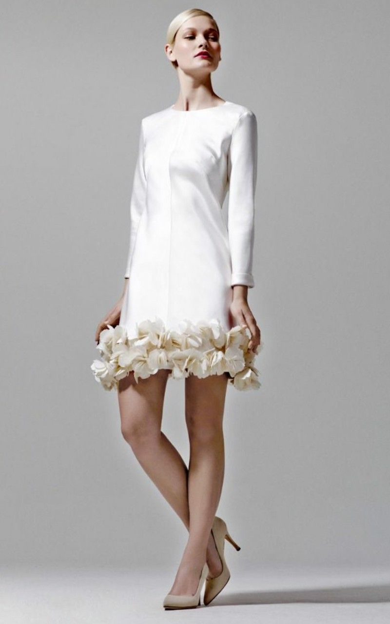 Short Wedding Dress With Decorative Flowers At The Hem