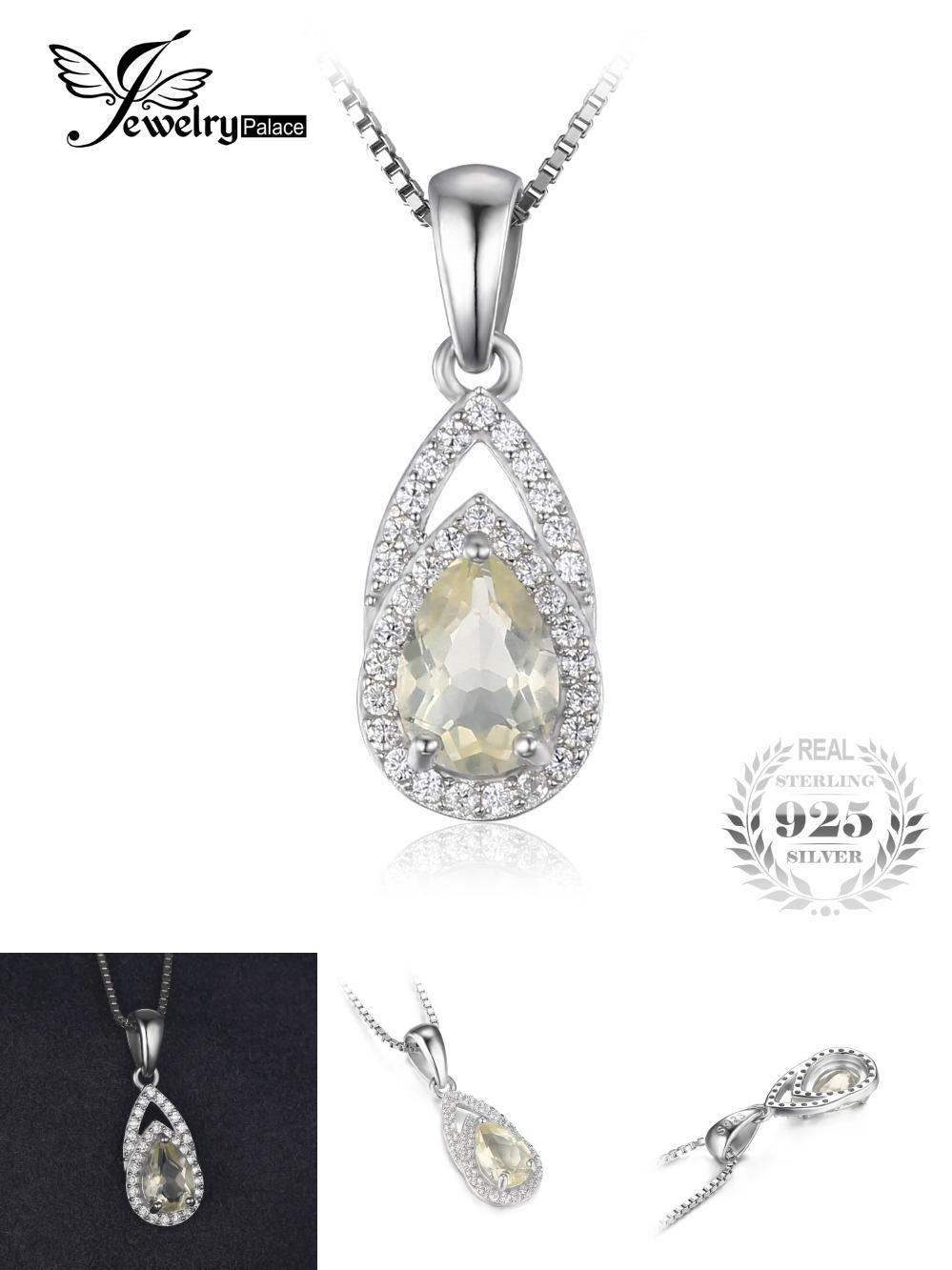 jewelrypalace elegant 09ct genuine lemon quartz pendant neckalce 925