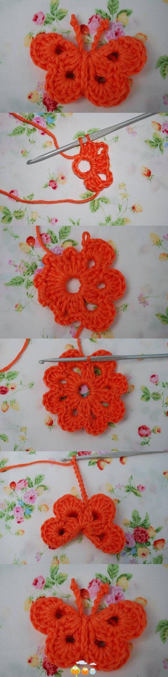 Aplicación de mariposa   apliques en crochet   Pinterest ...