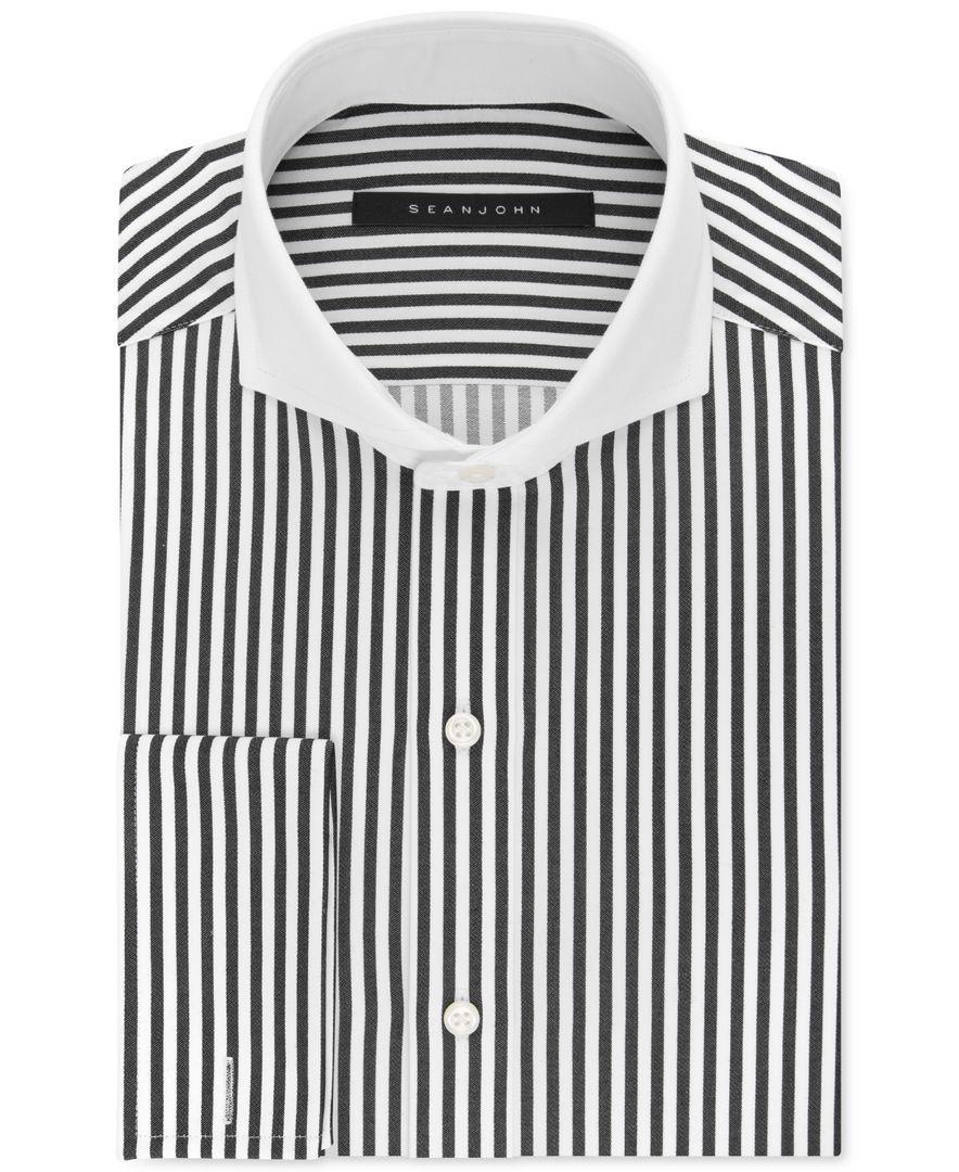 Sean John Black And White Stripe Dress Shirt Shirts Black White Striped Dress Mens Shirt Dress [ 1080 x 884 Pixel ]