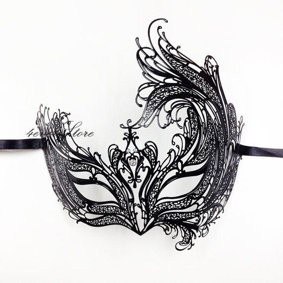 Máscara de la mascarada corte láser veneciano negro por 4everstore, $24.90