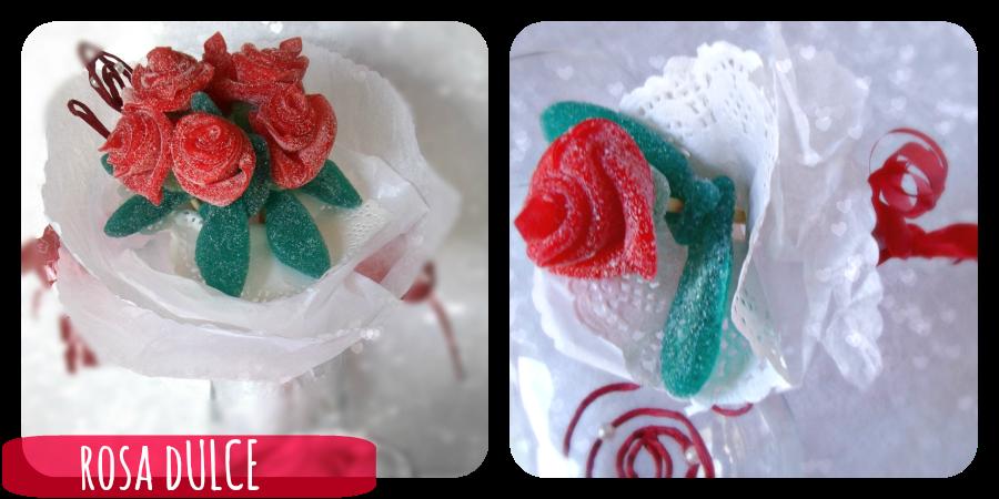 Rosa realizada con chuches manualidades crear con - Manualidades con gominolas ...