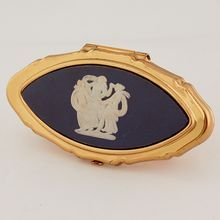 Wedgwood Jasperware Slate Blue Lipstick Holder The Three Graces from Antik Avenue on Ruby Lane Sold!