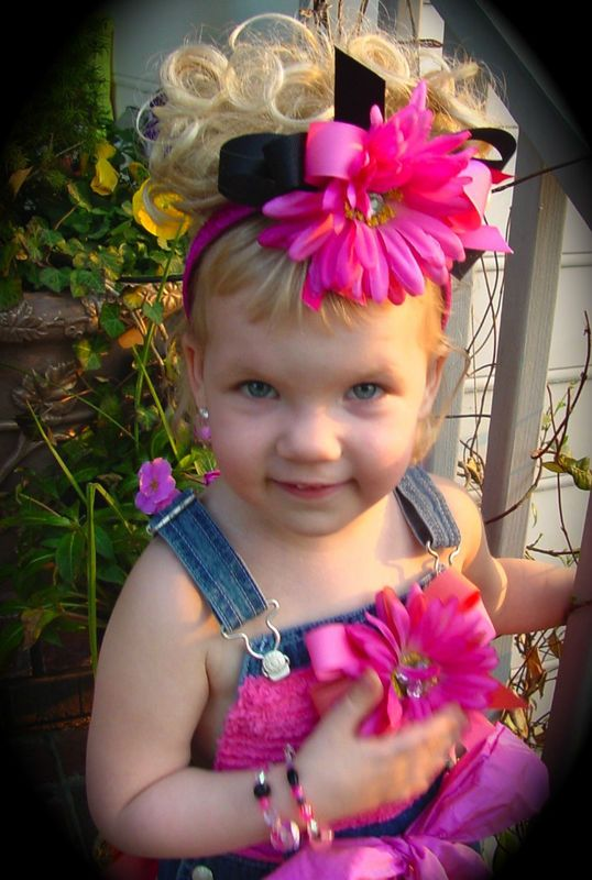 """""""Lil Miss Gerber Daisy"""" Hair bow and Boutique Overalls- Glitzy Glam! darladoodlesboutique.com"""