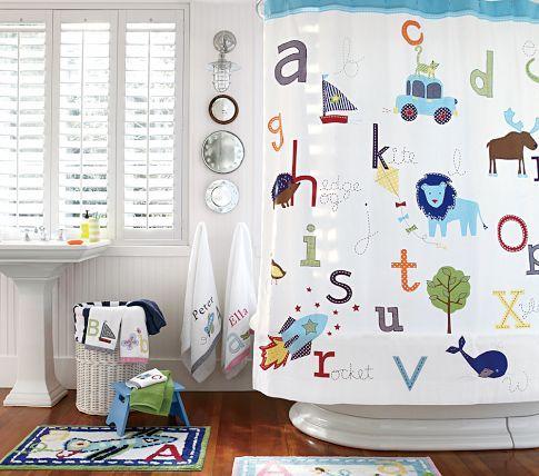 Abc Shower Curtain Pottery Barn Kids Kids Shower Curtain Kids Bathroom Sets Kids Bathroom Colors