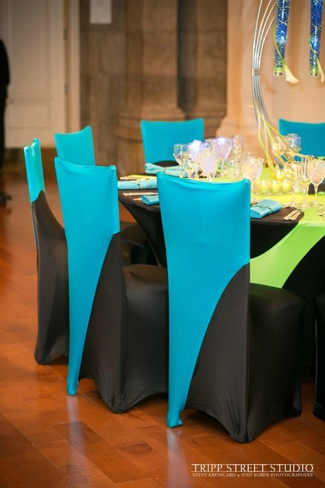 Bar Mitzvah Party Spandex Linens Chair Covers In Neon Green