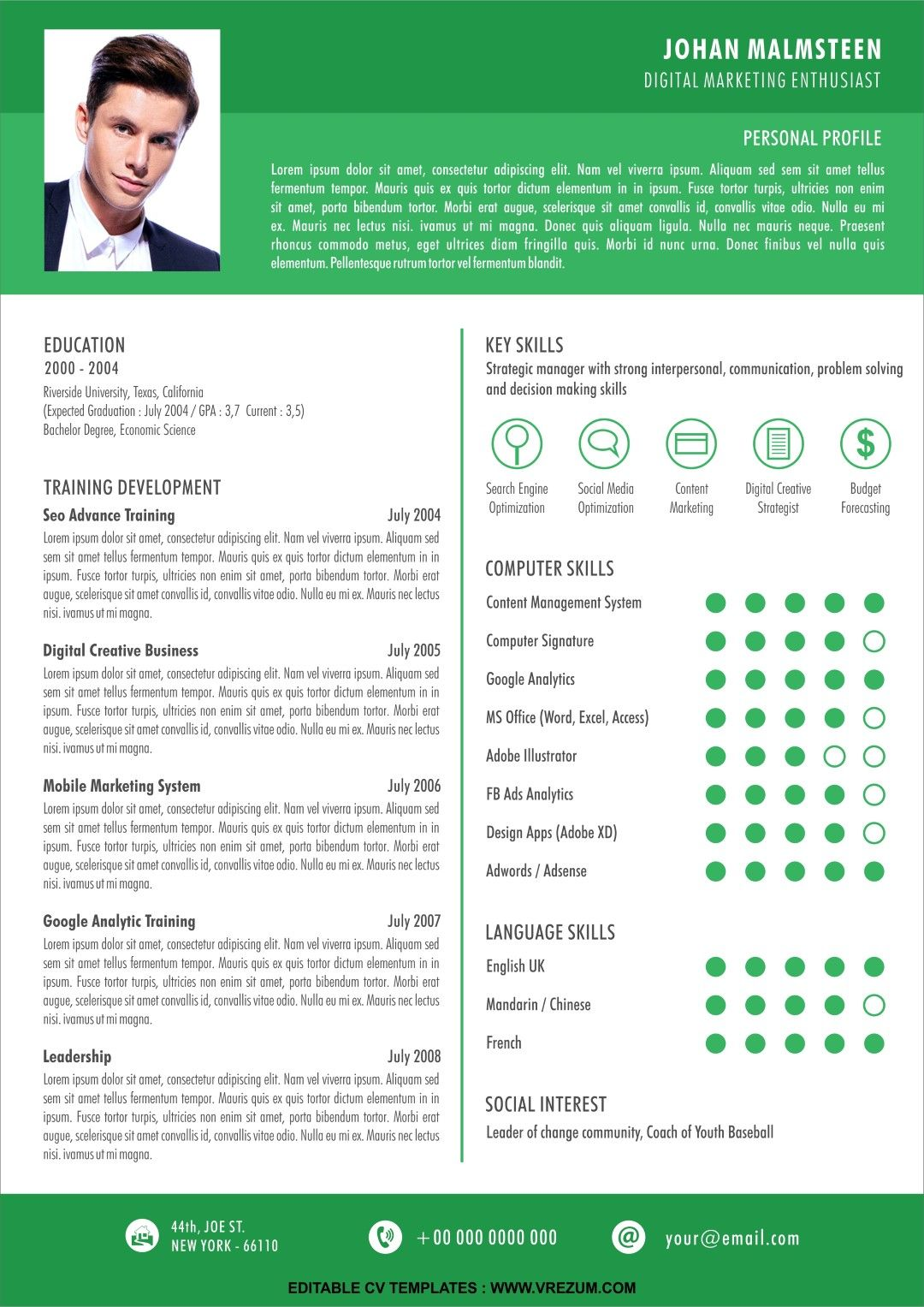 (EDITABLE) FREE CV Templates for Fresh Graduate in 2020