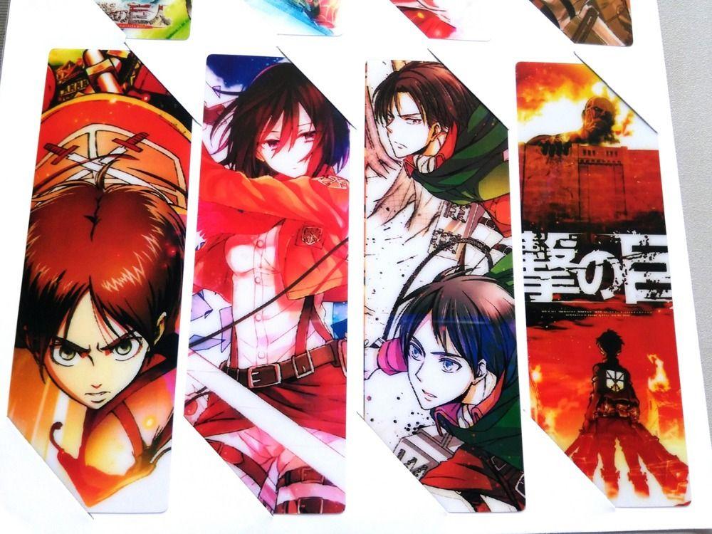 8pcs/set PVC Anime Bookmarks printed with Anime Attack on Titan