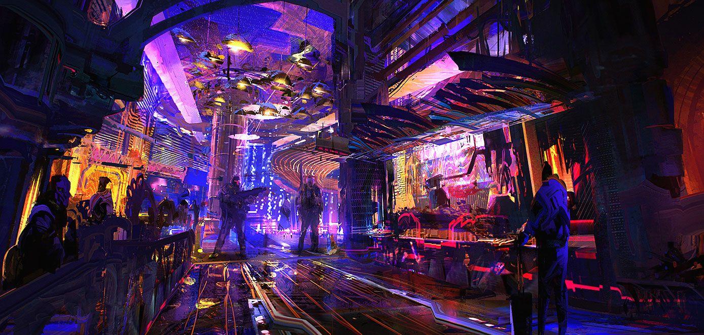 Crazylobby by jameschg on deviantart cyberpunk city sci