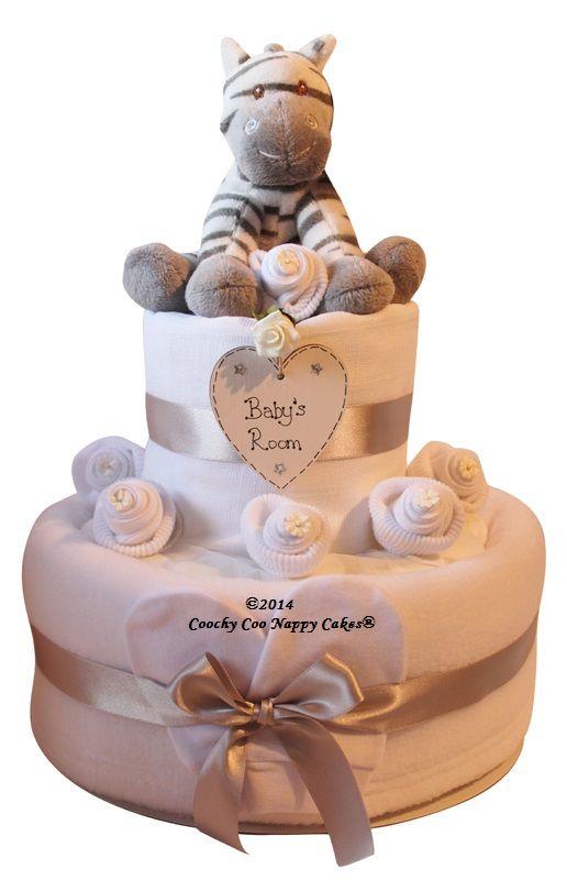 two tier unisex zebra nappy cake baby shower gift, Baby shower invitation