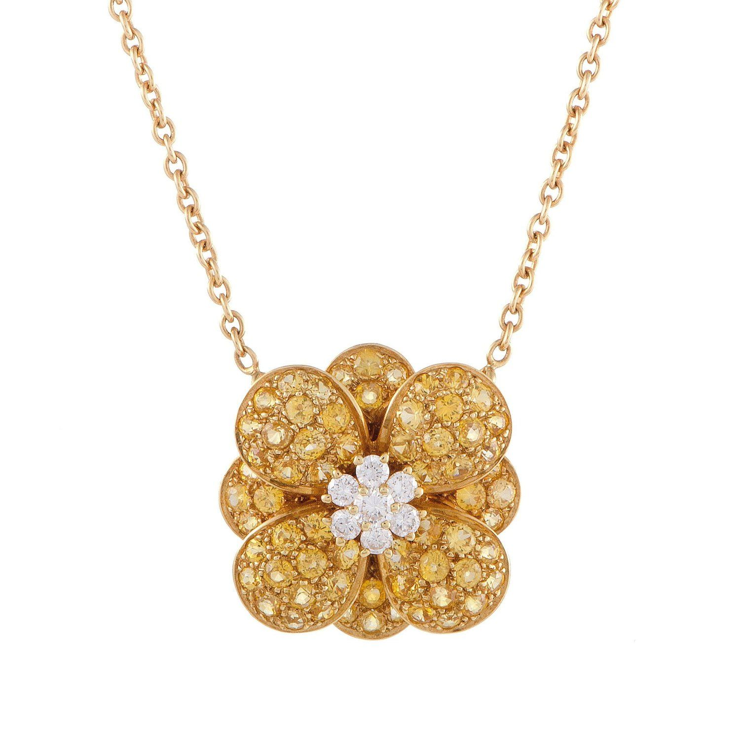 yellow rack shop flower pendant of nordstrom image gold k product rose necklace