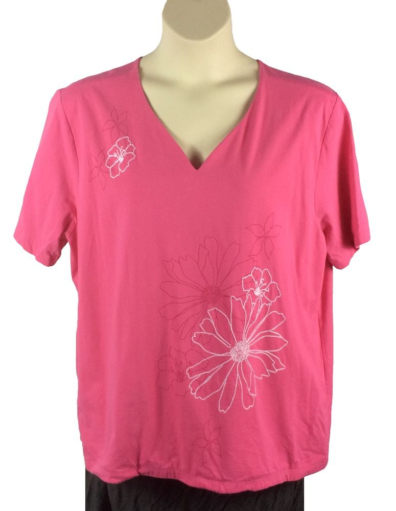 37b7c8dbbbd Womens Liz Claiborne Pink Knit Top Plus Size 3X White Stitched Flowers  Cotton  LizClaiborne  KnitTop  Any