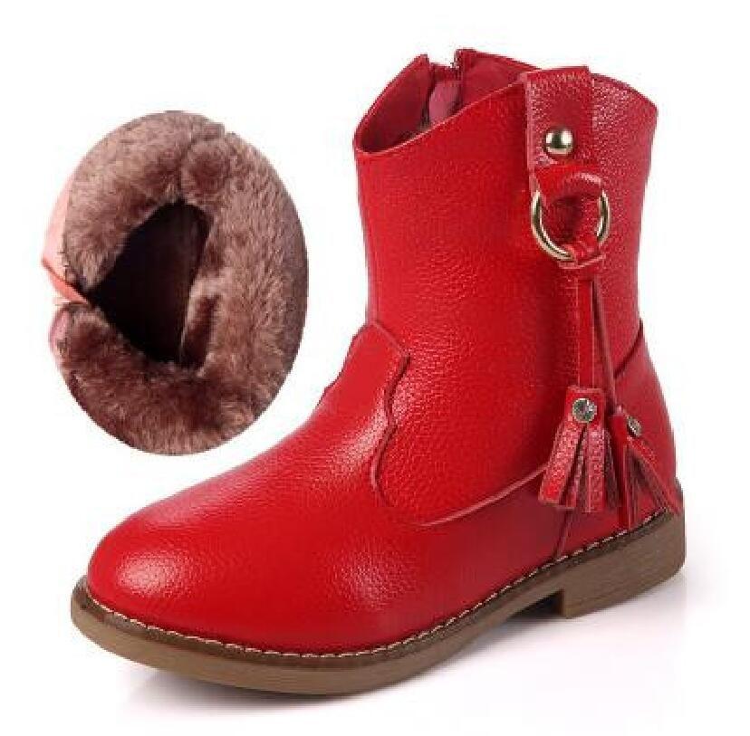 deb7f87f Los Niños de invierno Zapatos de Moda Al Aire Libre Botas de Nieve de Cuero  Genuino