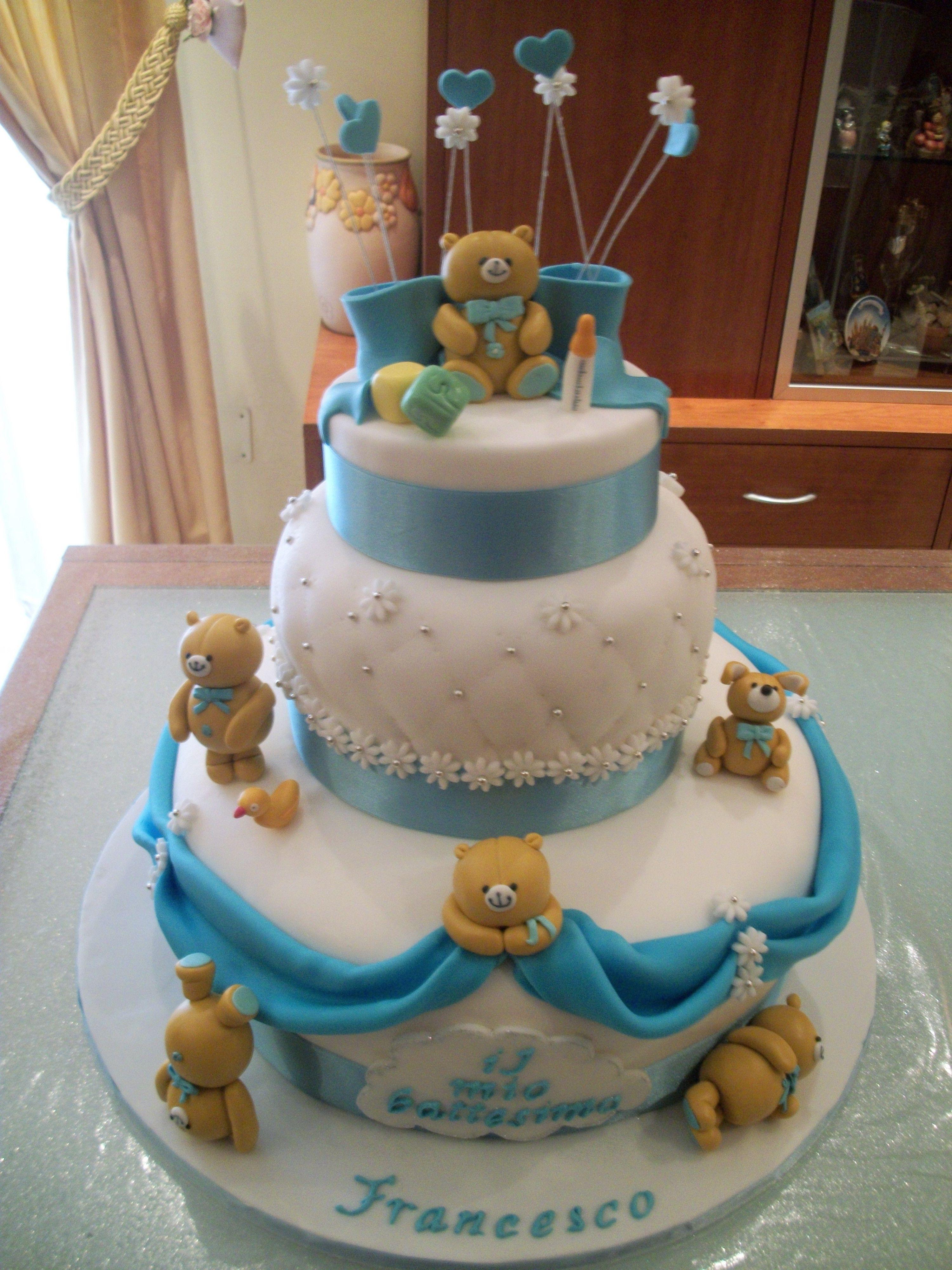 Torta In Pasta Di Zucchero Battesimo Baby Shower