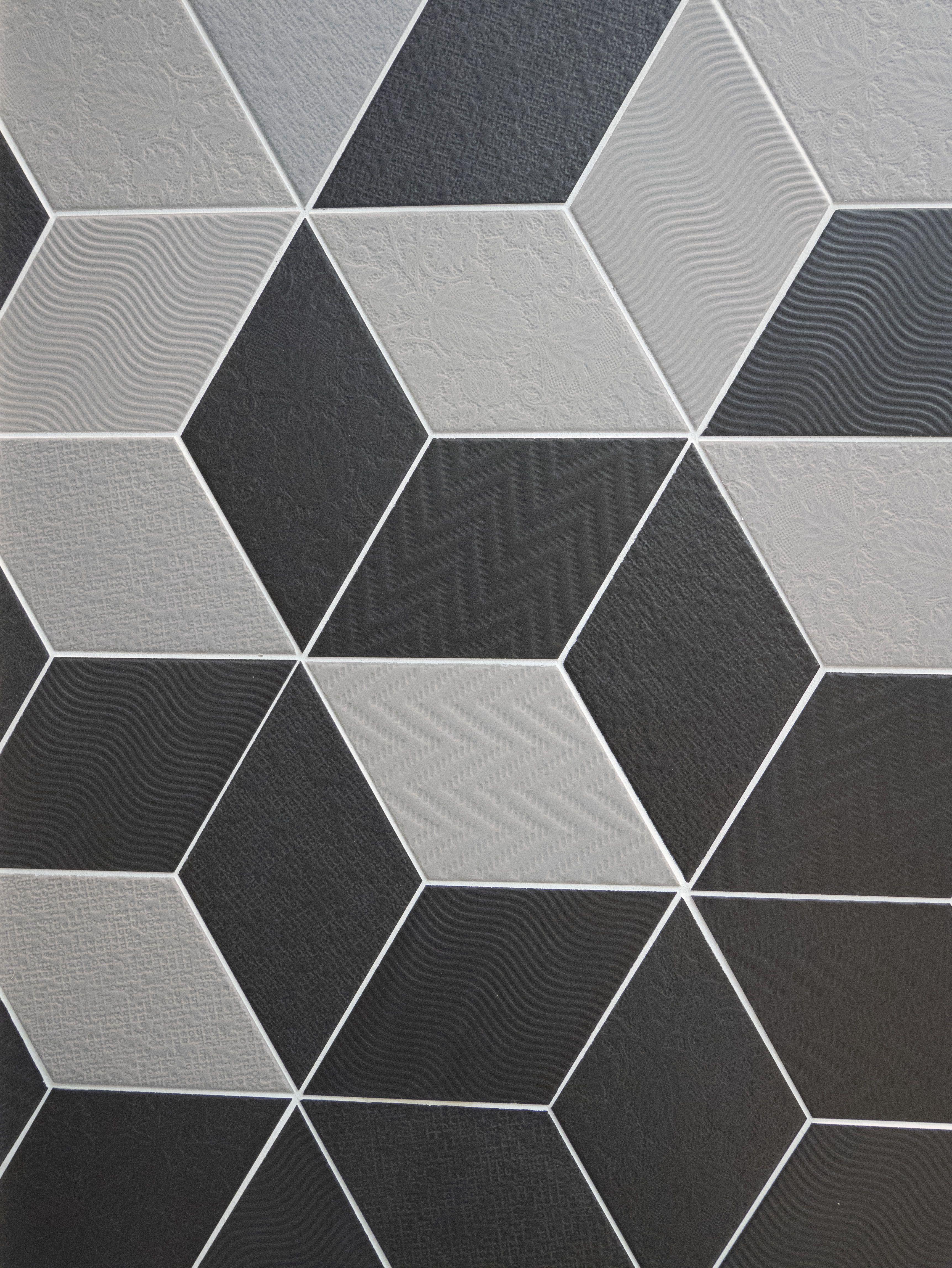 Rhombus Grey, Black nais.es   Hexagonal marble   Pinterest   Cocinas
