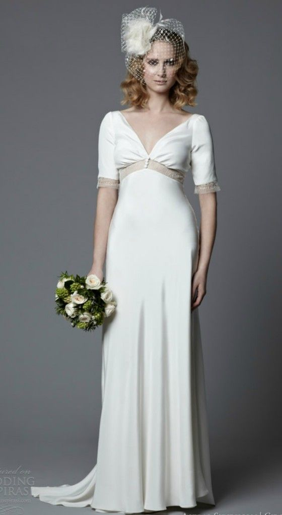 Simple Empire Short Sleeves Wedding Dress for Older Brides Over 40 ...