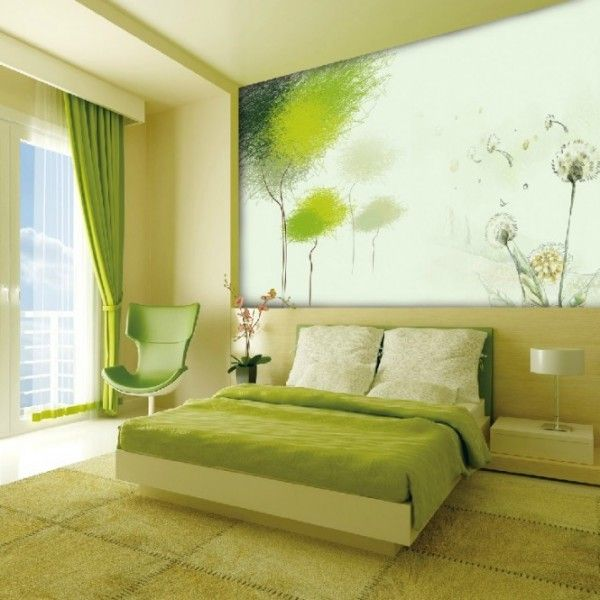 green and white rooms | Green And White Wall Mural Inthe Bedroom ...