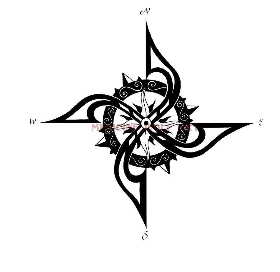 Compass Tattoo Line Drawing : Compass tattoo tribal google zoeken tats pinterest