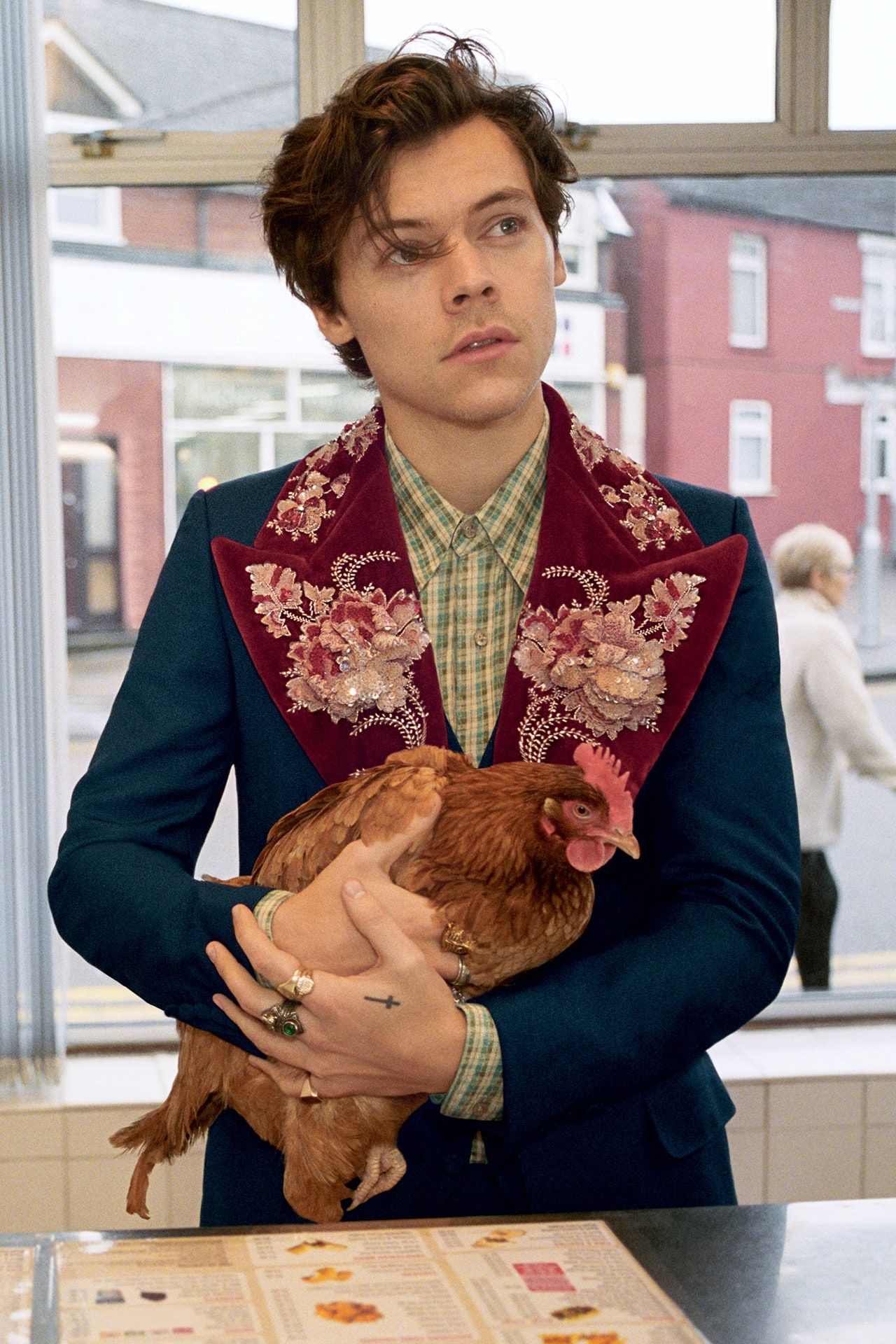 Harry Styles heads to the chippy with Gucci