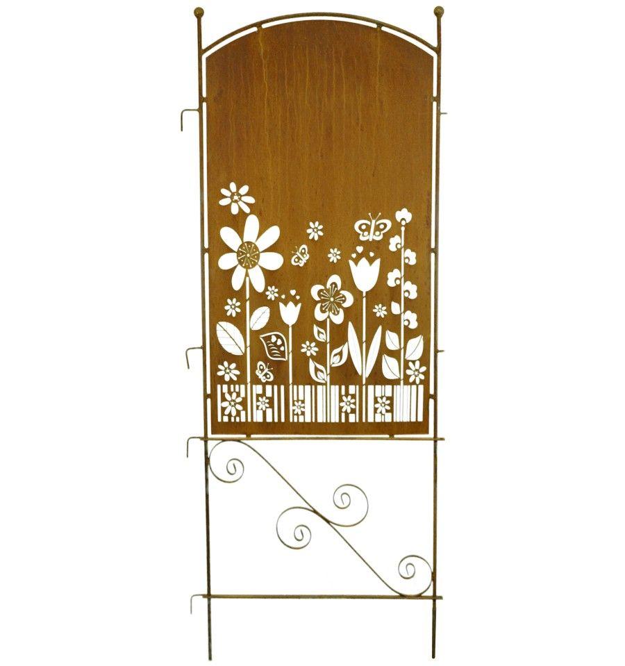 Metall Sichtschutz Rostig Mit Blumengarten Motiv 70cm X 190 Cm