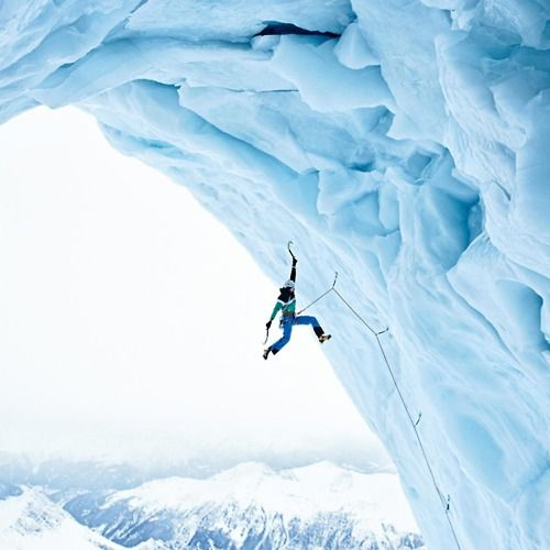 Hang on! Hope the ice doesn't break!