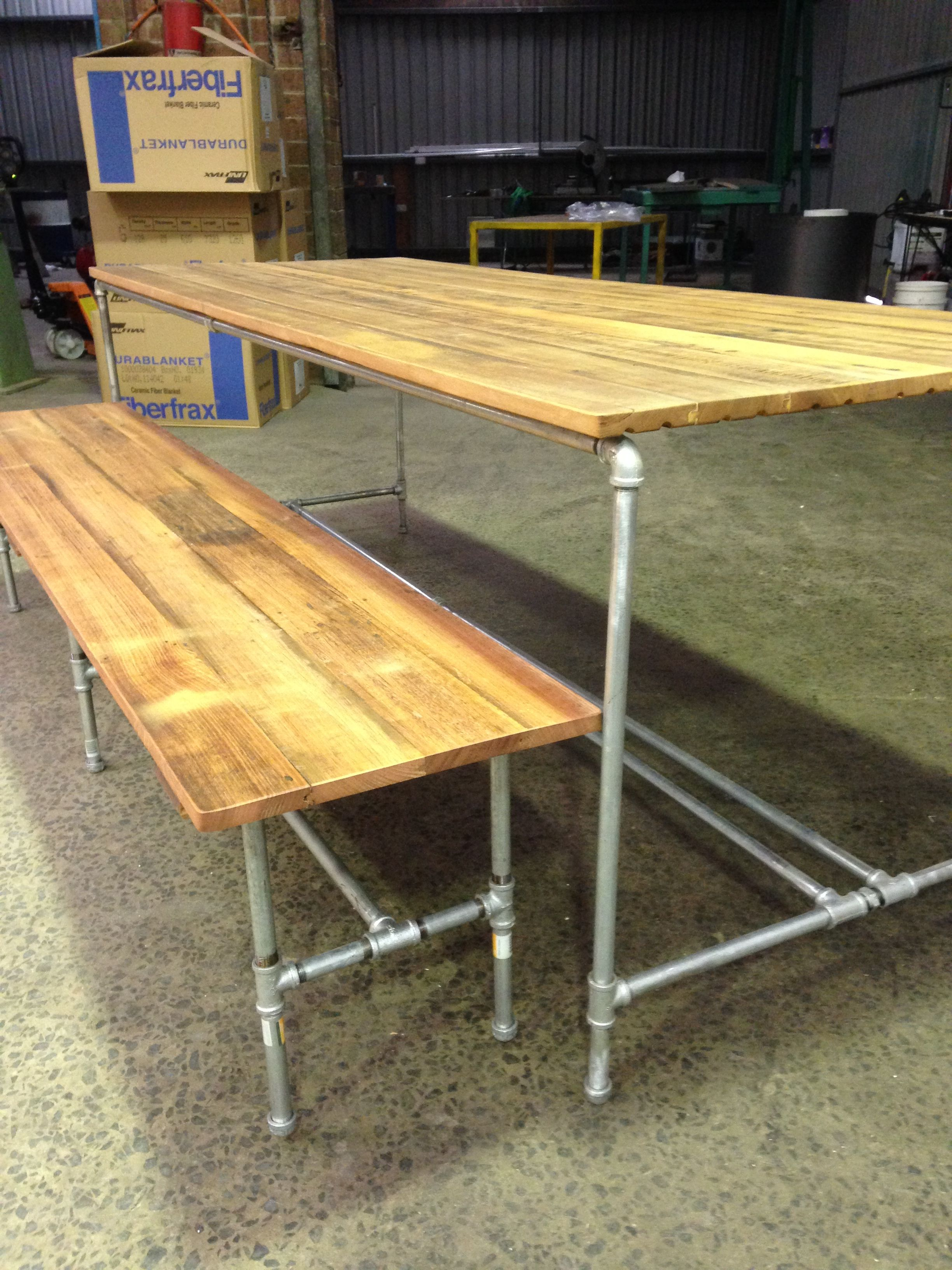Upcycled Timber Table 22Mm Old Church Floor Boards Galvanised Pipe