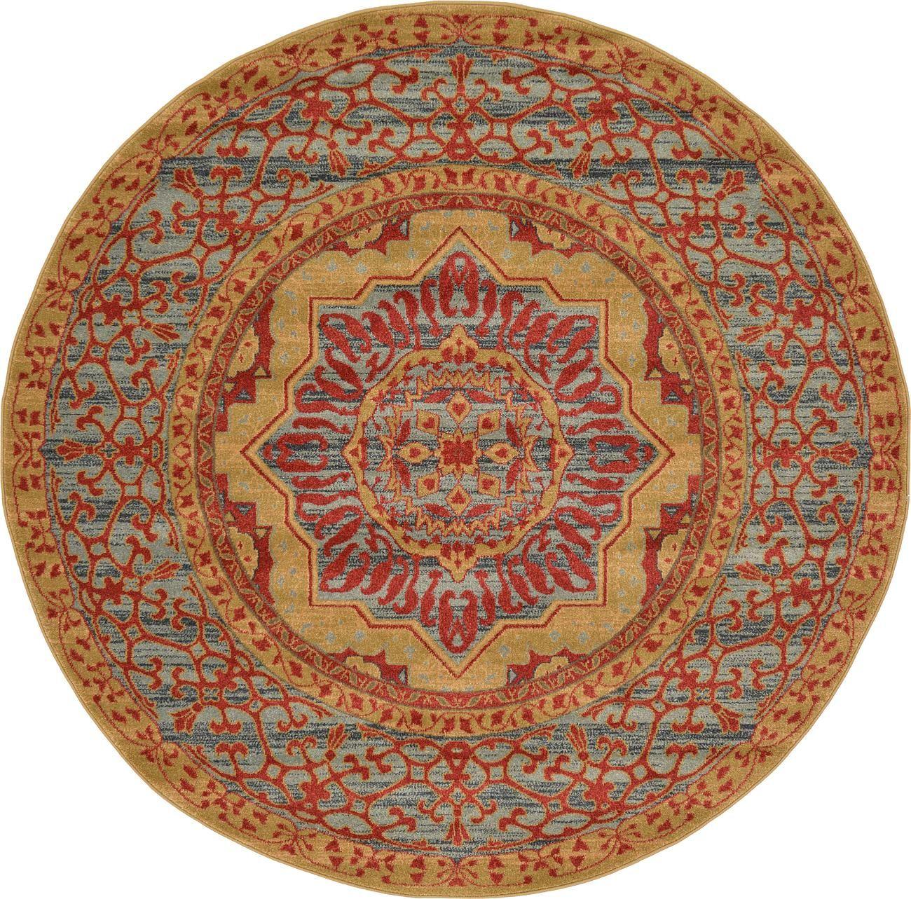 Red 6 X Mamluk Round Rug Area Rugs Irugs Uk
