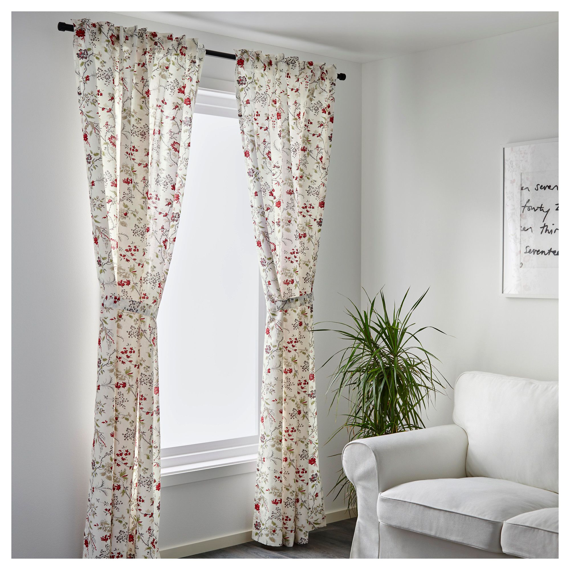 IKEA - INGMARIE Curtains with tie-backs, 1 pair multicolor | master ...