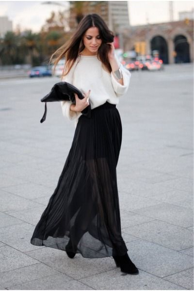 26300490e Jumper hm, maxi skirt topshop | Wear | Fashion, Style, Chiffon skirt