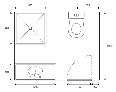 Bathroom layout with measurements created using Virtual World software