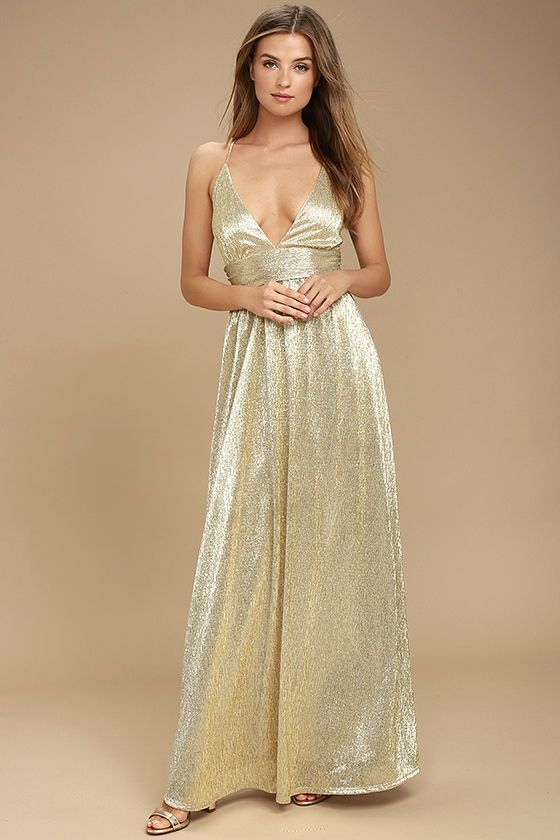 Gilded Goddess Gold Maxi Dress | Gold and Products