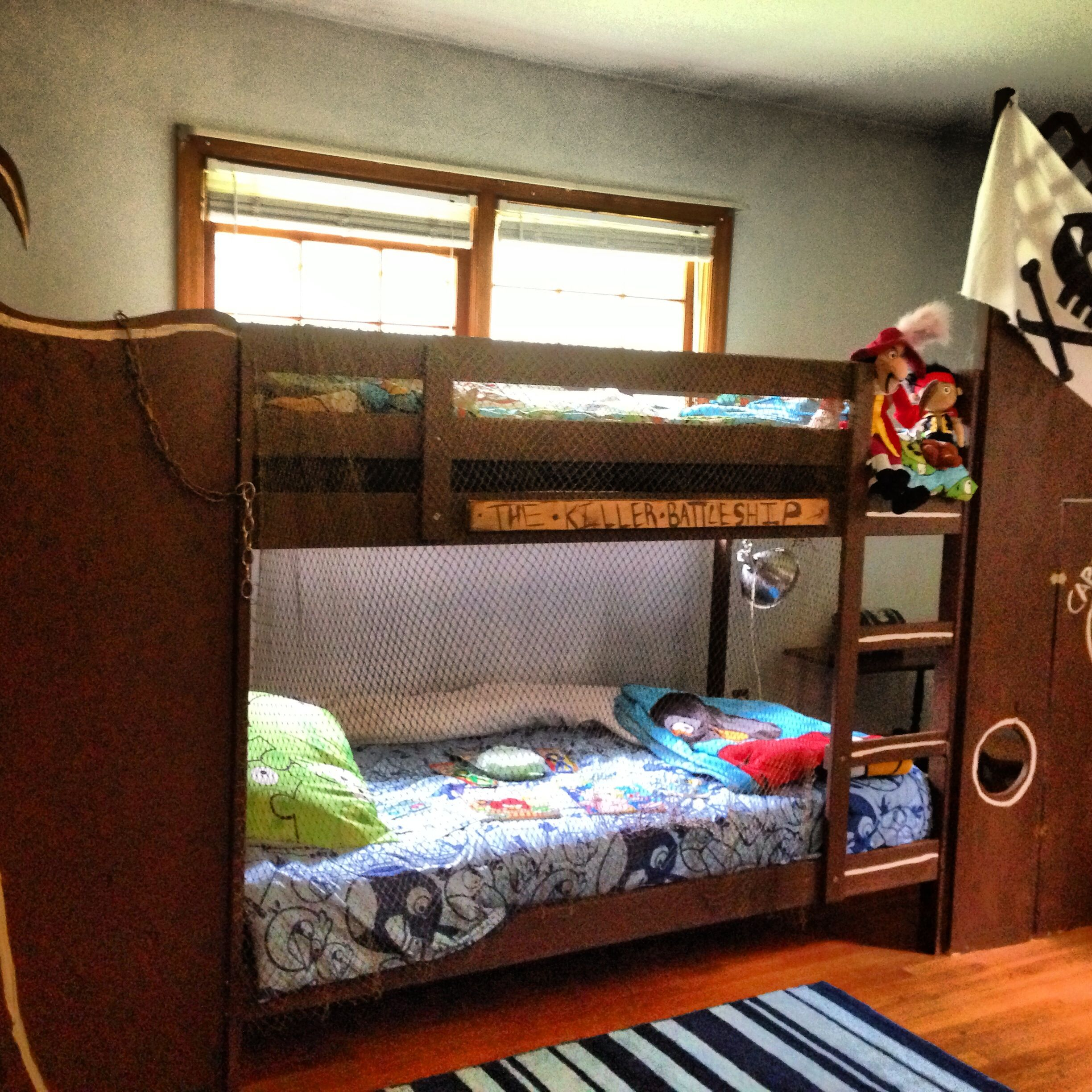 Diy Pirate Ship Bunk Bed For The Kiddos Bunk Beds Bed Kid Beds
